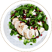 Lambs lettuce with chicken, pomegranate seeds and feta cheese 11509984