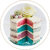 A four-layer rainbow cake with white frosting, Easter eggs and flowers 11506903